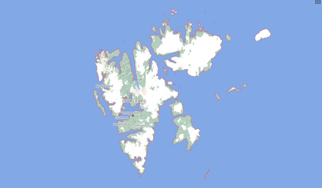 Map of Longyearbyen in Svalbard