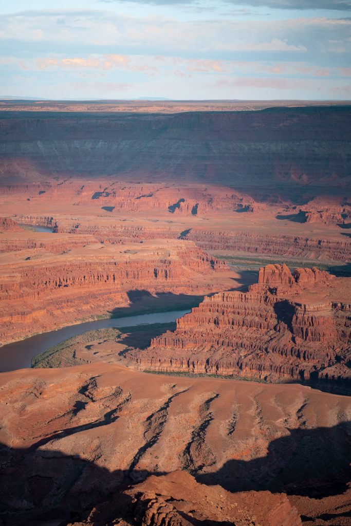 View of the deep canyon formed by the Colorado River at Dead Horse State Park in Utah