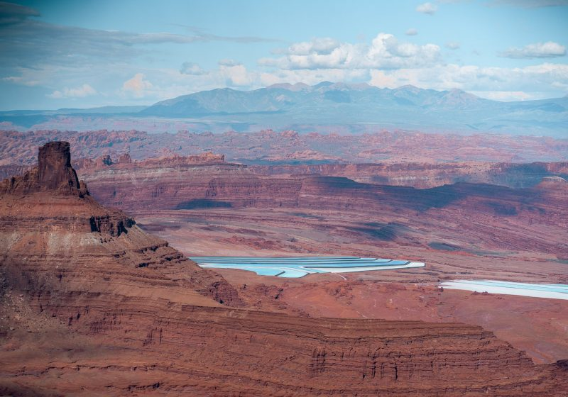 View of the blue potash ponds and buttes at the Basin Overlook near Dead Horse State Park in Utah