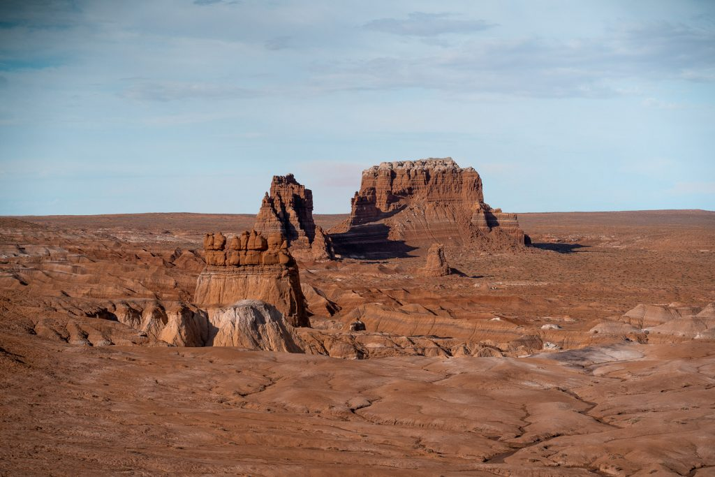 Large, oddly shaped rock formations in Utah