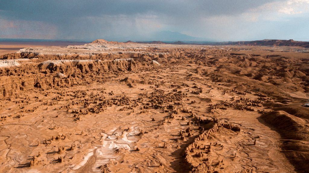 Large, oddly shaped rock formations at Goblin Valley in Utah