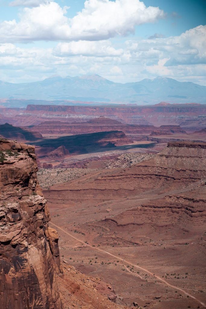 View of large rock formations at the Shafer Canyon Overlook in Canyonlands, Utah